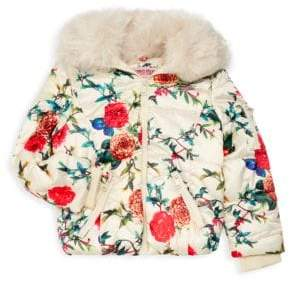 Urban Republic Little Girl's Faux Fur Floral Quilted Jacket