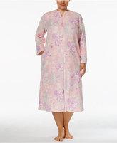 Miss Elaine Plus Size Plush Zip-Front Long Robe