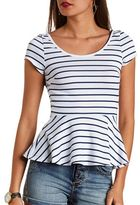Charlotte Russe Bow-Back Striped Peplum Top
