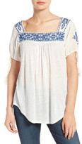 Lucky Brand Embroidered Slub Knit Top