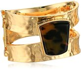"Robert Lee Morris Tenacious Tortoise"" Tortoise Geometric Stone Hinged Bangle Bracelet"