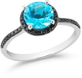 Bloomingdale's Blue Topaz and Black Diamond Halo Ring in 14K White Gold