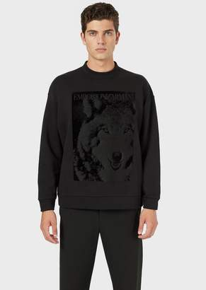 Emporio Armani Printed Velvet Crew-Neck Sweatshirt
