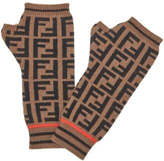 Fendi FF motif fingerless gloves