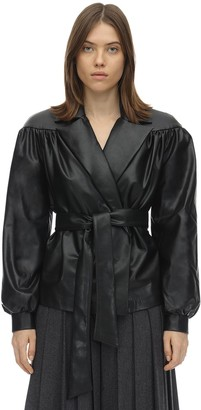 Ruffled Faux Leather Jacket W/ Belt