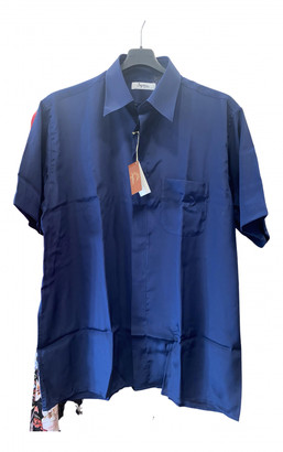 C.b. Made In Italy Blue Silk Shirts