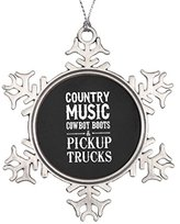 Country Music, Cowboy Boots And Pickup Trucks Snowflake Pewter Christmas Ornament