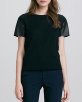 Vince Leather-Sleeve Wool Tee, Black