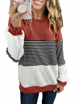 Corafritz Women;s Casual Striped Crewneck Sweatshirts Color Block Long Sleeve Pullover Tunic Tops Shirts Blouse Tee Shirt Tops Tunic Crewneck Round Neck Patchwork Red