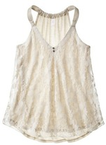 Xhilaration Juniors Lace Overlay Tank - Assorted Colors