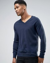 Sisley V-Neck Jumper In Cotton