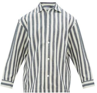 E. Tautz Striped Cotton-blend Pyjama Shirt - Mens - Blue White