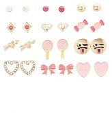 Charlotte Russe Mixed Enamel Stud Earrings - 12 Pack