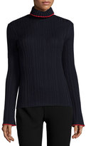 MSGM Tipped Ribbed Wool Turtleneck Sweater, Navy/Red