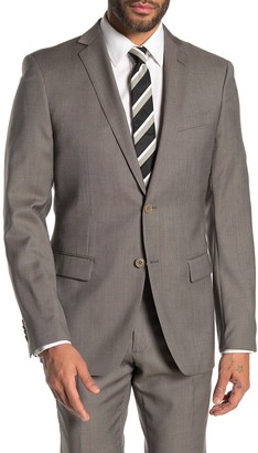 John Varvatos Bedford Dark Beige Birdseye Two Button Notch Lapel Wool Suit Separates Jacket