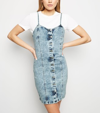 New Look Acid Wash Denim Bodycon Dress