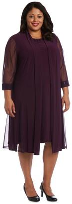 R & M Richards R&M Richards Embellished Shift Dress with SheerJacket