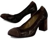 Anyi Lu Brown Metallic Suede Heels