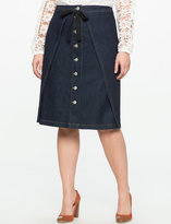 ELOQUII Button Front Denim Skirt