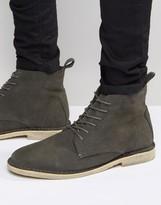 Asos High Desert Boots In Grey Suede