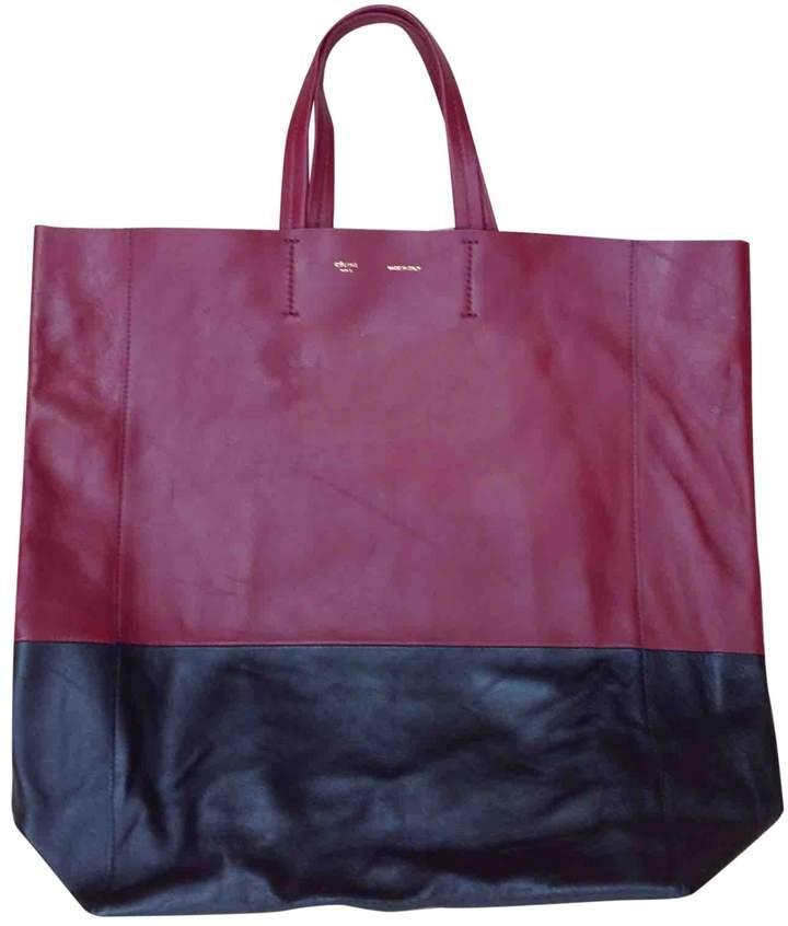 Celine Cabas Burgundy Leather Handbag