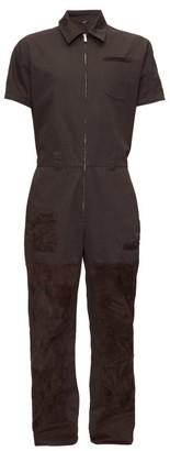 Fendi Suede-patch Canvas Overalls - Black