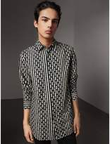 Burberry Spot and Stripe Print Cotton Shirt