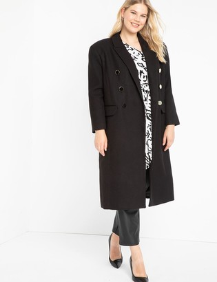 ELOQUII Double Breasted Exaggerated Shoulder Coat