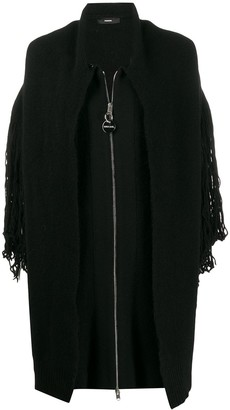 Diesel Knitted Fringe Detail Coat