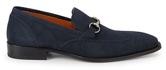 Mezlan Suede Wingtip Buckle Loafers