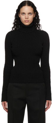 Bottega Veneta Black Rib Knit Distorted Turtleneck