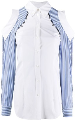 Moschino Cuffed-Shoulder Long-Sleeve Shirt