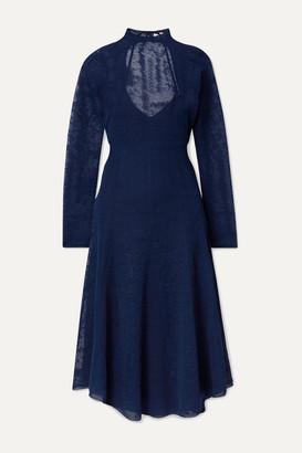 By Malene Birger Lampas Open-back Jacquard-knit Midi Dress - Navy