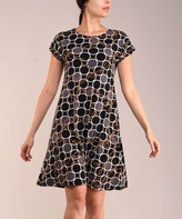 Lbisse Women's Casual Dresses Black - Black & Gray Status Cap-Sleeve Shift Dress - Women