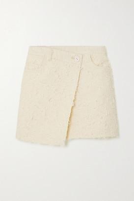 Acne Studios - Asymmetric Wrap-effect Boucle-tweed Mini Skirt - Cream