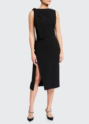 Oscar de la Renta Sleeveless Bateau-Neck Dress with Side Tie