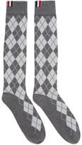 Thom Browne Grey Argyle Intarsia Over-the-calf Socks
