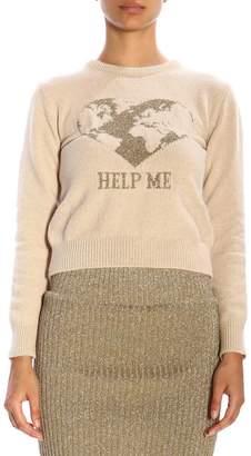 Alberta Ferretti Sweater Crew-neck Pullover With Lurex Embroidery Help Me