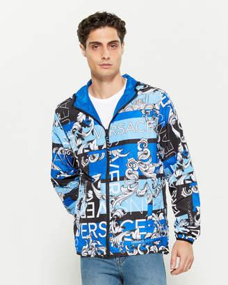 Versace Graphic Logo Print Reversible Full-Zip Jacket