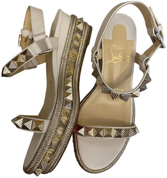 Christian Louboutin Cataclou Silver Leather Sandals