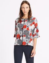 Marks and Spencer Floral Print Kimono 3/4 Sleeve Shell Top