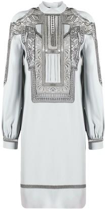 Alberta Ferretti Embroidered Long-Sleeve Mini Dress