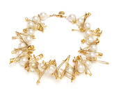 Tom Binns Pearl Necklace With Large Safety Pins