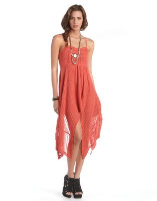 Free People Strapless Striped Lace Hi-Lo Dress