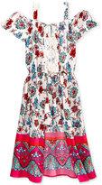 Sequin Hearts Floral-Print Off-The-Shoulder Maxi-Overlay Romper, Big Girls (7-16)