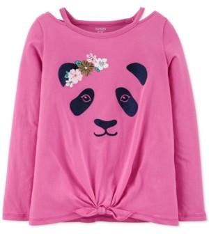 Carter's Little & Big Girls Cotton Tie-Front Panda T-Shirt