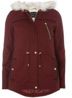Dorothy Perkins Womens Burgundy Quilt Short Parka coat- Red