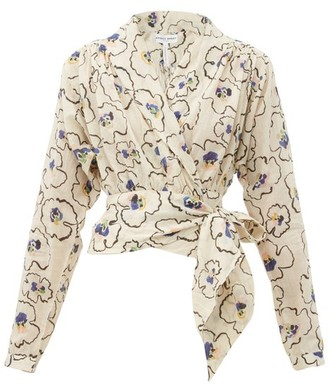 Apiece Apart Greta Floral-printed Organic-cotton Poplin Top - Cream Multi