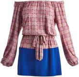 Glam Royal & Rose Floral Check Tie-Waist Off-Shoulder Dress
