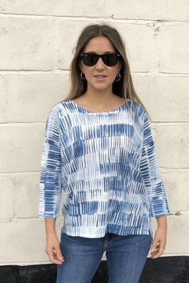 Kinross Brushstroke Print Linen Sweater - Large